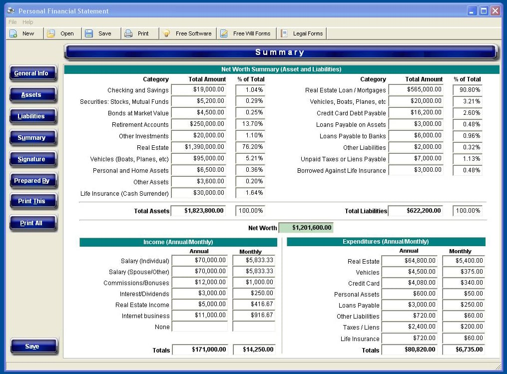 personal financial statement software A personal financial statement - married document can help you and your spouse organize and present your financial portfolio if you're applying for a loan, a lease, or credit, a personal financial statement can help you make a more compelling argument by compiling all your financial information into a single, formal, statement.